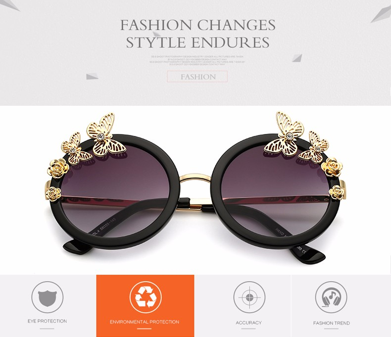 ②Art Deco Butterfly Flower Round Fashion Women Gradient Lens ... 12e59dcef3