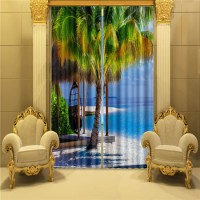 Palm Tree Window Curtain 3D Curtains for living room