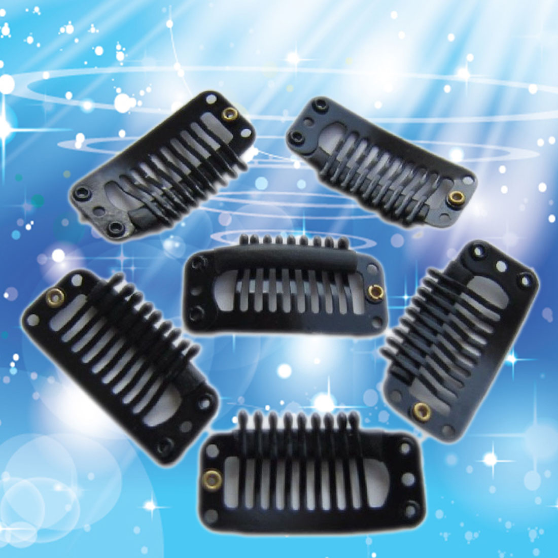 ᗗNew 6pcs U Shape Hair Snap Comb for Hair Extensions Weft Wig Clip ...