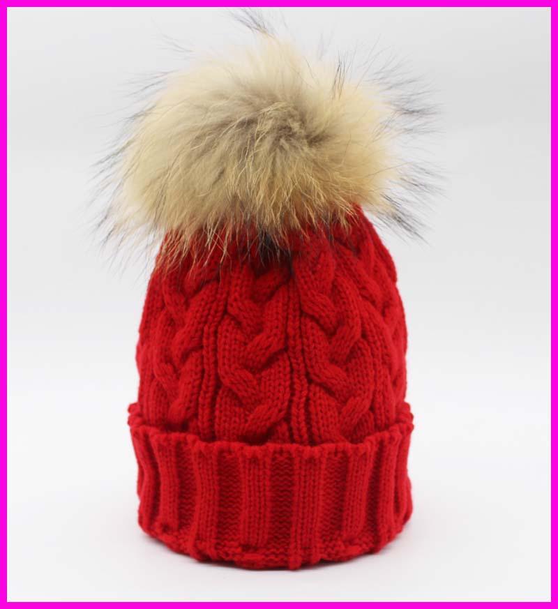 ᓂHiver Femelle Tricoté Bonnets Avec Perle 100% Réel Raton Laveur 15 ... 98a32aa8056