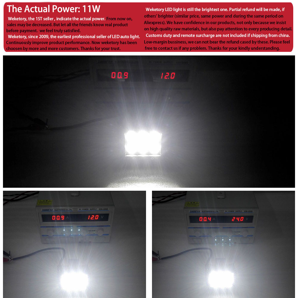 Weketory 4 Inch 18w Led Work Light Lamp For Motorcycle Tractor Boat Switch 12v Or 24v Dc 96w Lights Specifications Specification