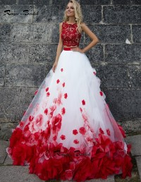 next red floral prom dress