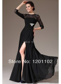 Elegant Black Lace Long Evening Dress Event Gown Gala
