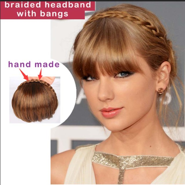 1pc Clip in Bangs Fake Hair Extension Hairpieces Braided