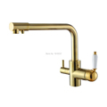 Drinking Water Kitchen Tap Commercial Solid Brass Single Hole Double Handle 3 Way Water Filter Round