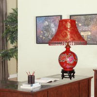 Modern fashion jingdezhen ceramic red table lamp marriage ...