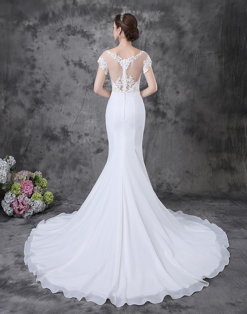 Aliexpresscom  Buy Elegant Short Sleeve Lace Top Long Tail Mermaid Corset Wedding Dresses from