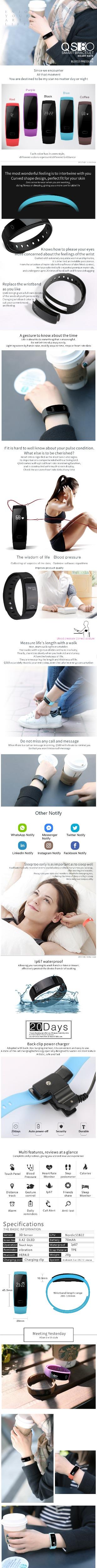 ①Smartch QS80 wristband soporte distancia calorías pista gesto ...
