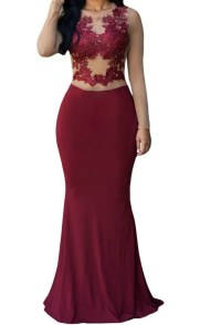 Hot Sale Cheap Chiffon Lace Long Sleeve Burgundy Prom ...