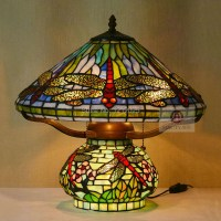 Antique Tiffany Style Dragonfly Table Lamp Double lit ...