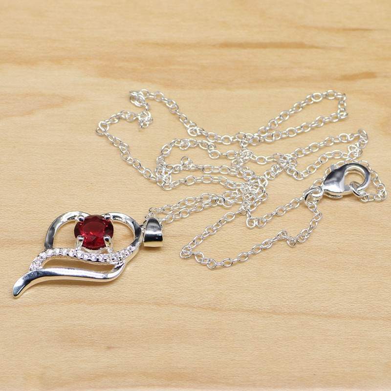 55cb5c77993 Design Em Forma de coração Red Garnet Branco Cubic Zirconia Colar Pingente  925 Prata Esterlina Jóias Para As Mulheres Presentes Caixa Livre