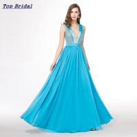 Light Blue Long Cheap Elegant Prom Dresses 2015 Chiffon V ...