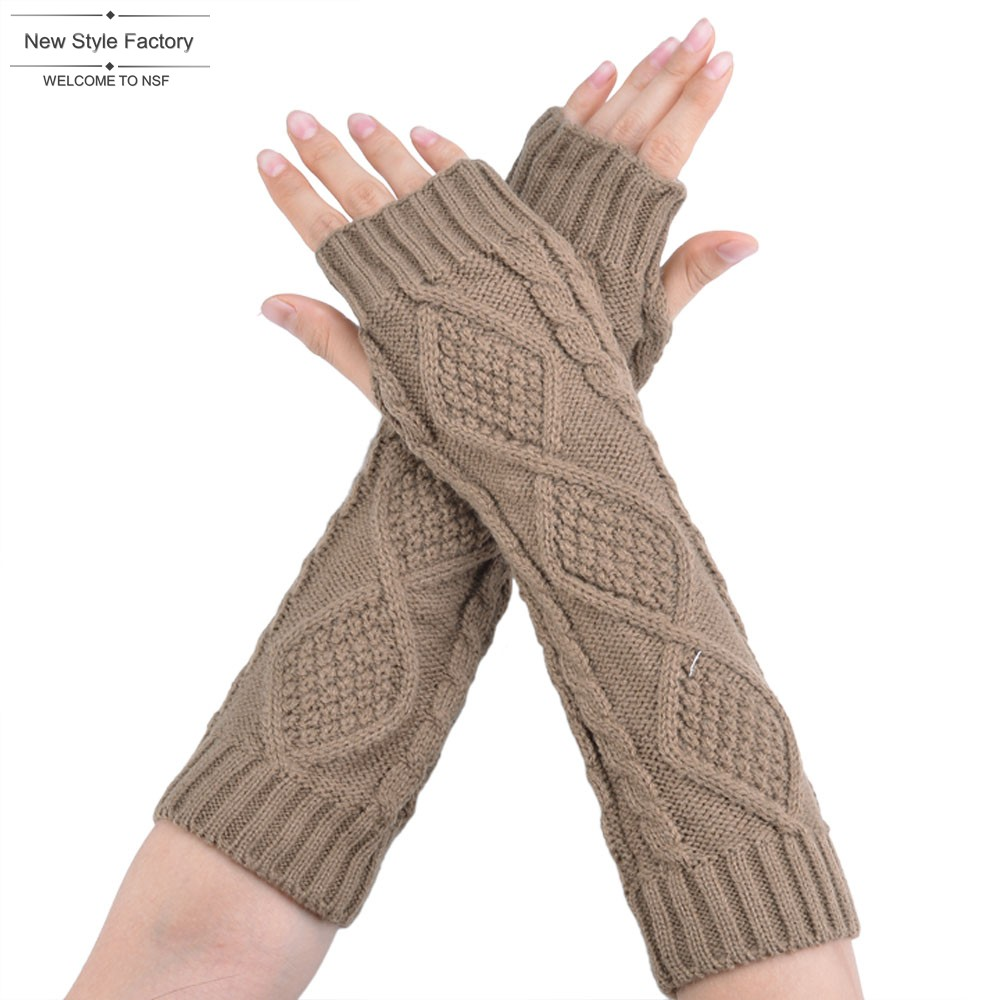 Knitted Fingerless Winter Gloves