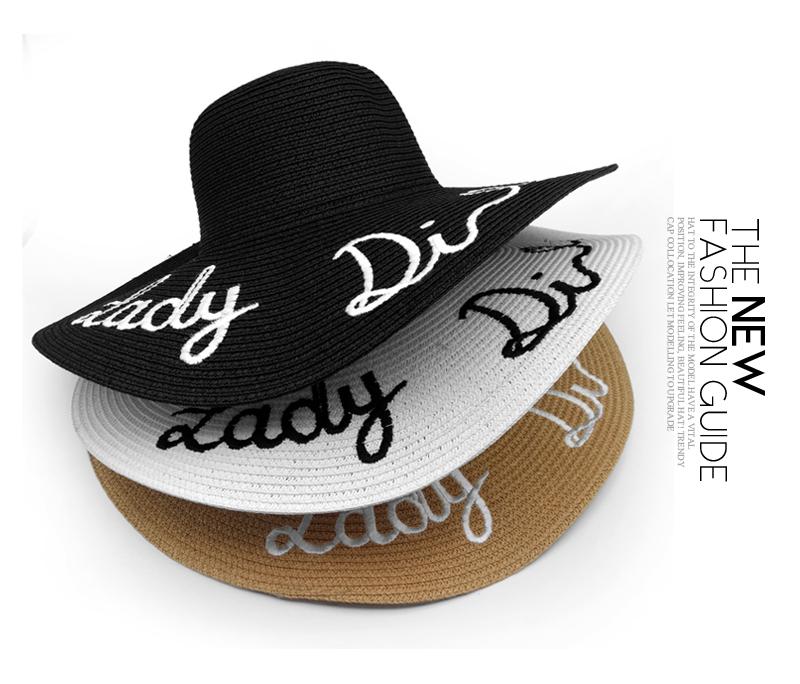 ᑎ‰2016 nova moda Carta Bordado chapéu panamá Grande Sunbonnet Aba ... 05b5d66ac66