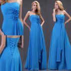 2015 Royal Blue Prom Gowns Women Cheap Long Evening