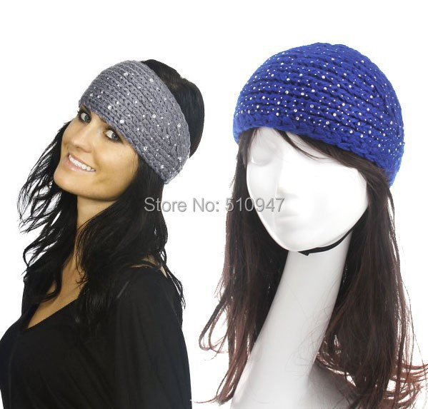 ⑧2014 nuevo sólido rhinestone mujeres venda del ganchillo del knit ...