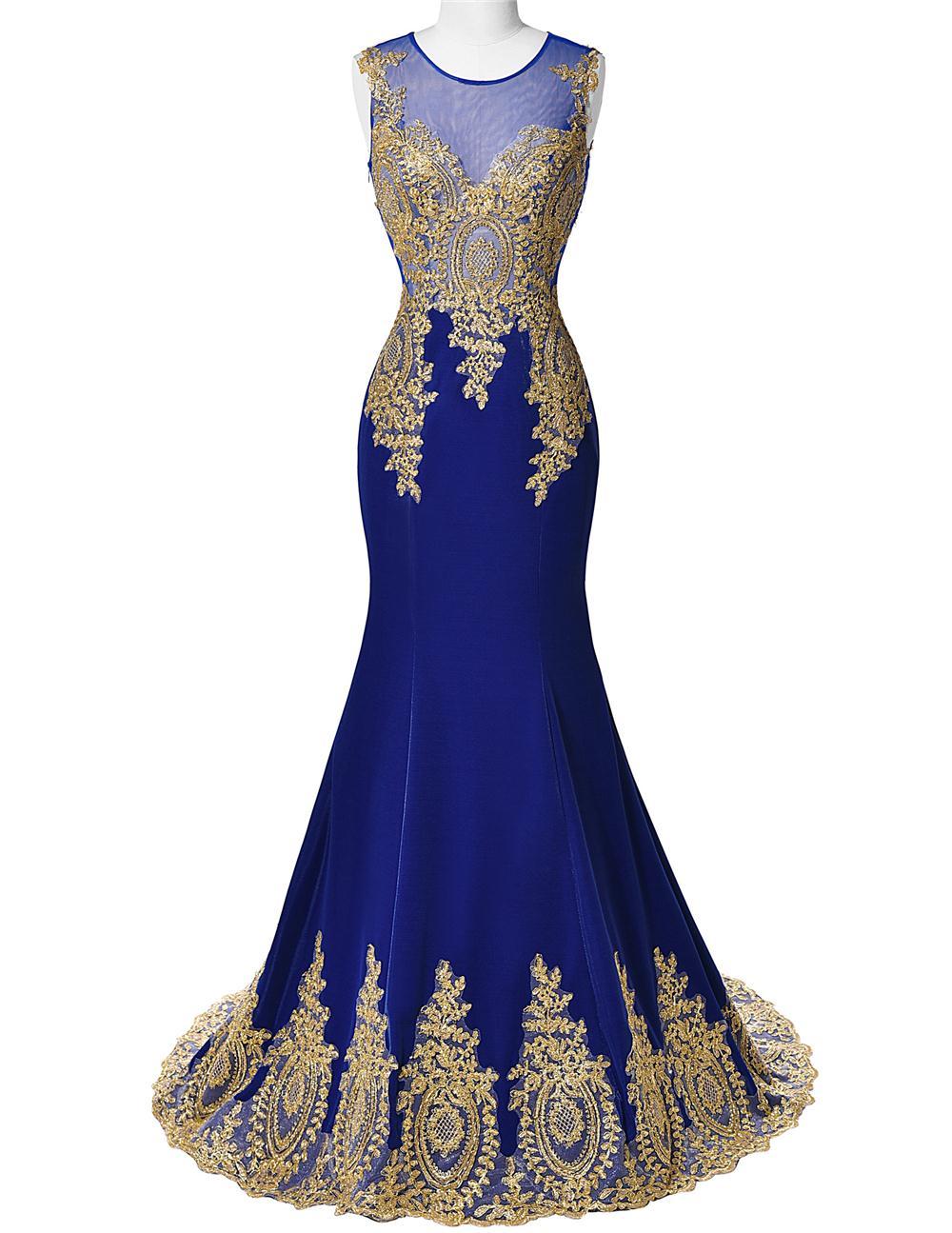 Real Photo Grace Karin Gold Mermaid Evening Dress Long