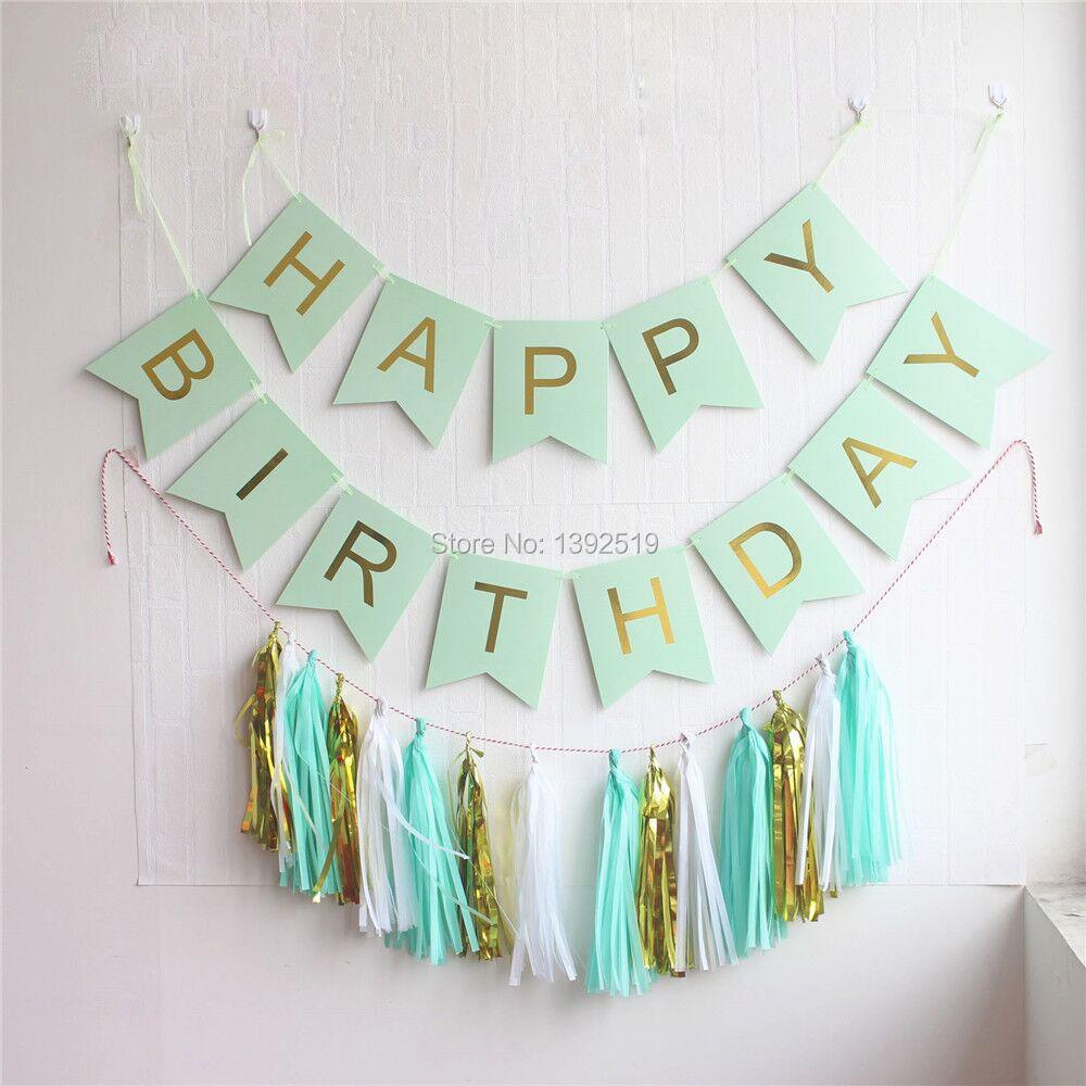 ჱmint green happy birthday banner with hanging tassel garland and