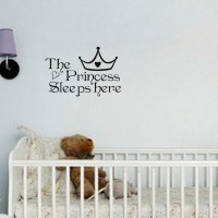 Free shipping:The Princess wall stickers sleeps here wall