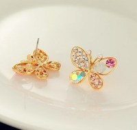 1pair Fashion Lovely Crystal Rhinestone Hollow Butterfly ...