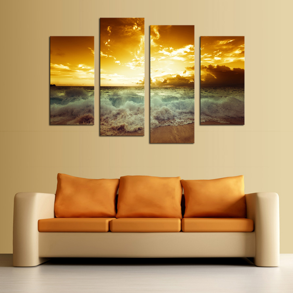 4panel Modern Printed The Family Decorates Sea Wave Print In The ...