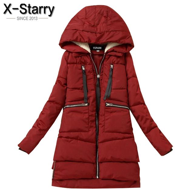 X-звездное 2016 Женщины Зимняя Куртка С Капюшоном Хлопка Ватник Утолщение Парки Для Женщин Плюс Размер Хорошее Качество Женщины пальто LN1006