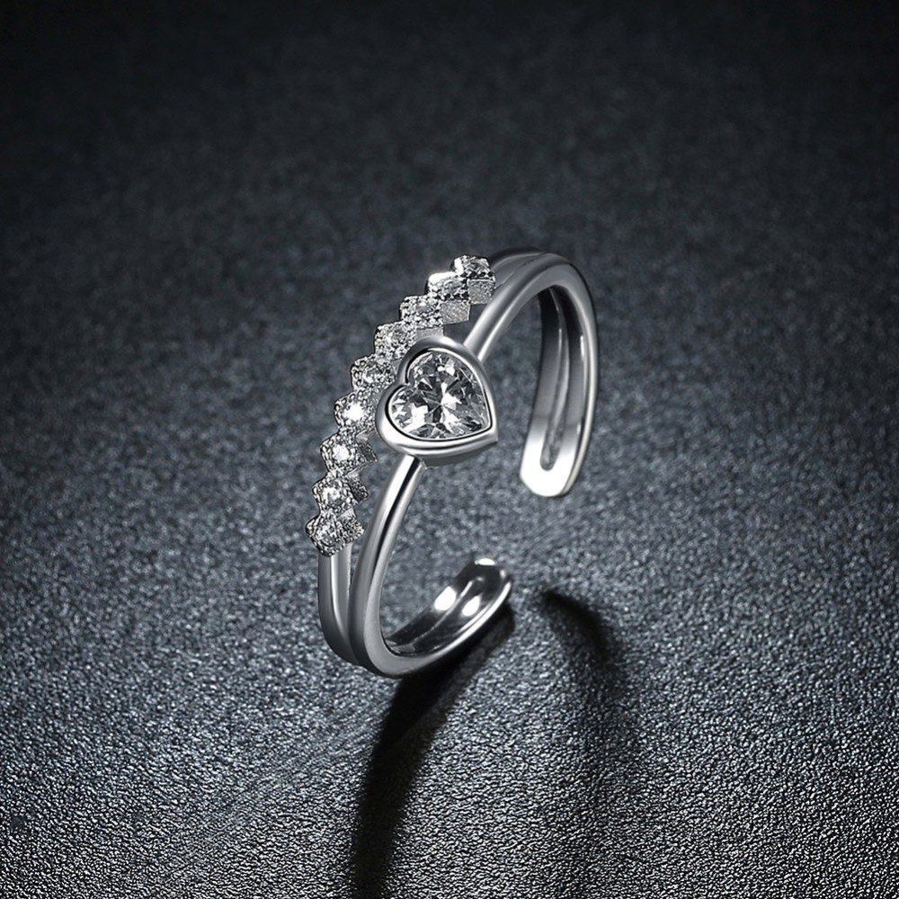 SHEGRACE 925 Sterling Silver Feather Finger Ring with AAA Zircon,Adjustable Anti-silver for Woman