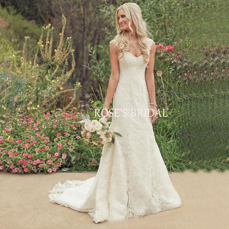 Aliexpresscom  Buy Country Western Eden Wedding Dresses Cap Sleeve Ivory Lace Mermaid Bridal