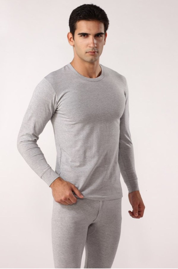 Men Thermal Underwear 100 Cotton Solid Warm Quality Sleep Set Top And Pant Men'