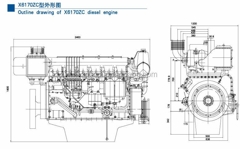 Brand New Chinese Weichai X170zc Marine Diesel Engine