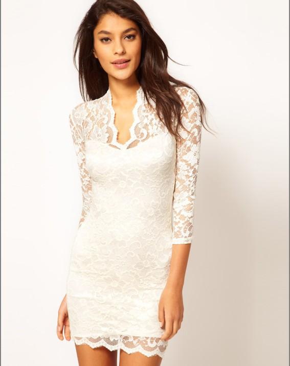 4feab295f Vestido De renda Com Scalloped Pescoço moda rendas mini vestido 3S2154 +  Frete grátis Oco Lace Vestido de Festa ...