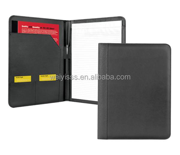 Leather Resume Folder With Document Pocket Card PocketsNotepad View leather resume folder