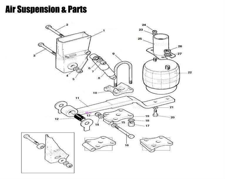 Universal Air Ride Suspension 2 Axles Air Bag Suspension