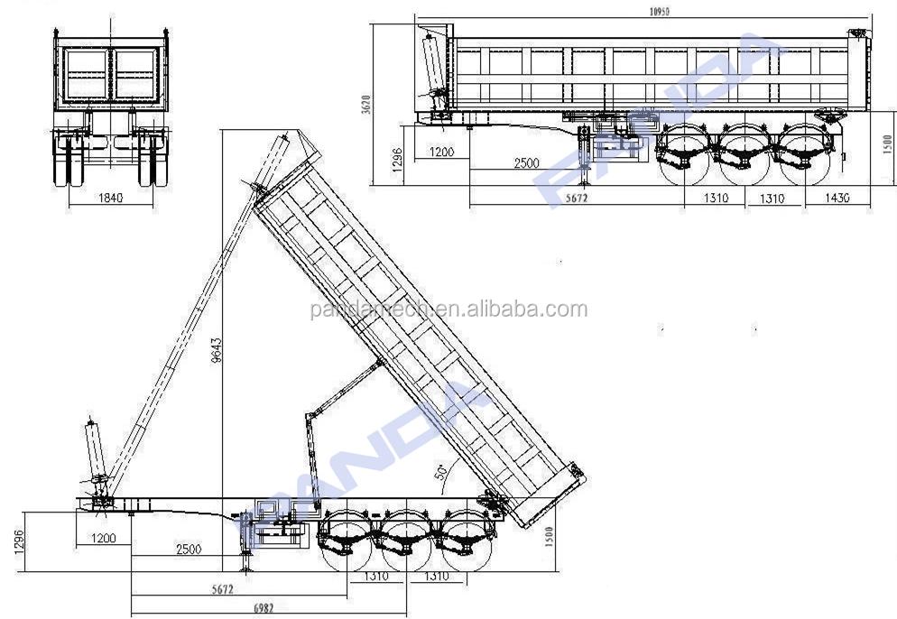 Hyva Hydraulic Cylinder Semi-trailer Dump Body/ 50ton