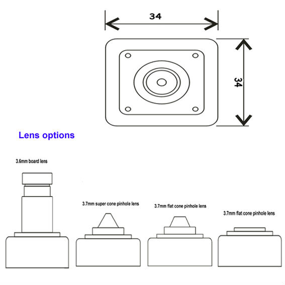 Small Size 34*34mm Pin Hole Button Lens 2mp Indoor Pinhole