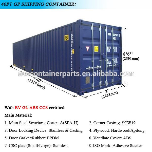 40 hc container weight size and price shipping
