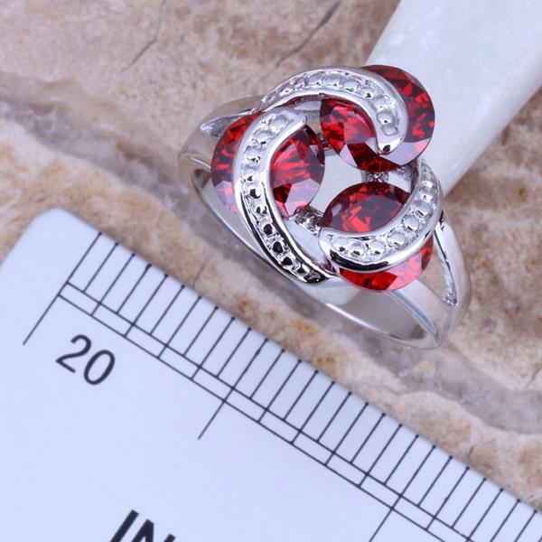 Sterling Silver Cocktail Bague Taille 5 6 7 8 9 10 Rouge Zircon Cubique Simulé Rubis Grenat