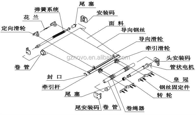 Depary Track Drawstring Fastener Motorized Curtain System