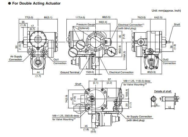 Double Acting Actuator Yokogawa Yvp110 Valve Positioner
