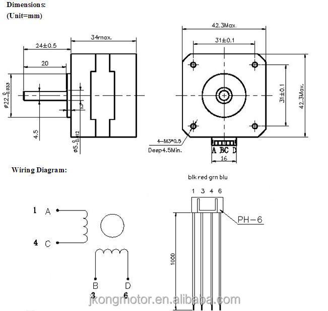 Reprap 3d printer Nema17 Stepper Motor model JK42HS34