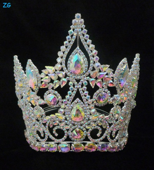 Fashion Full Ab Crystal Tiara Crown Large Pageant Crowns