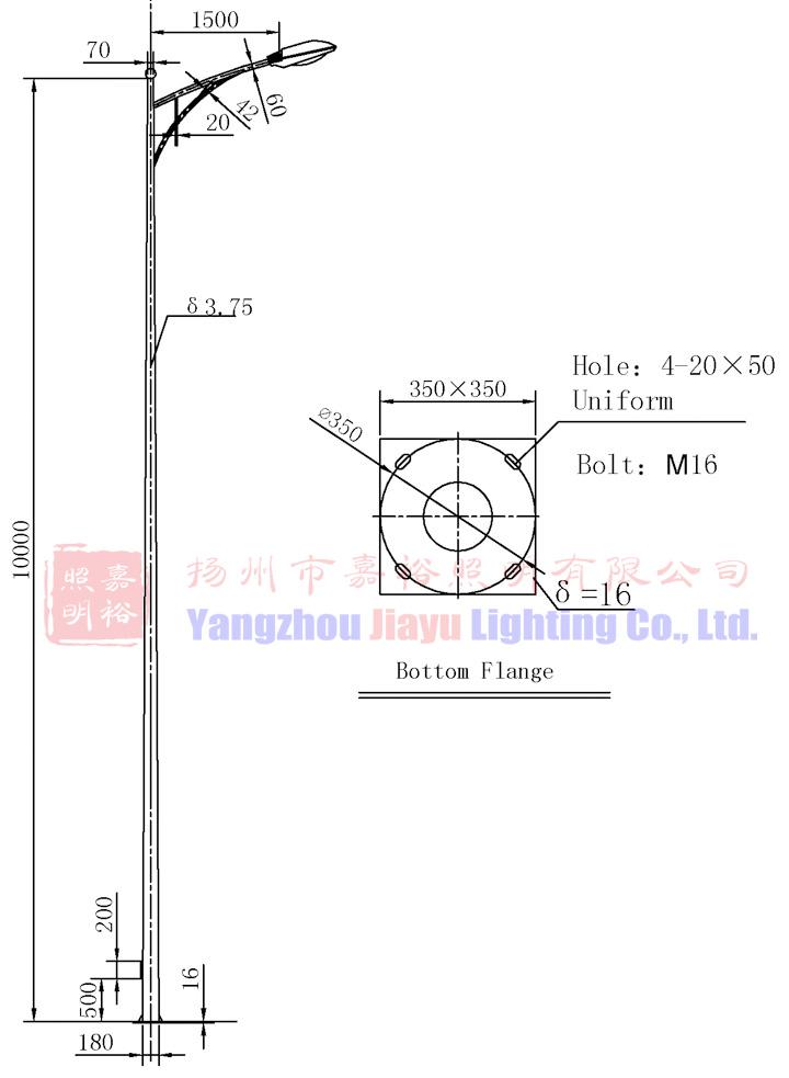 Q235 Steel Eco Powder Coating 10m Height Single Arm Street