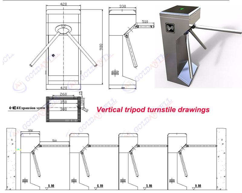 Rfid Ticketing System Vertical Tripod Turnstile Compatible