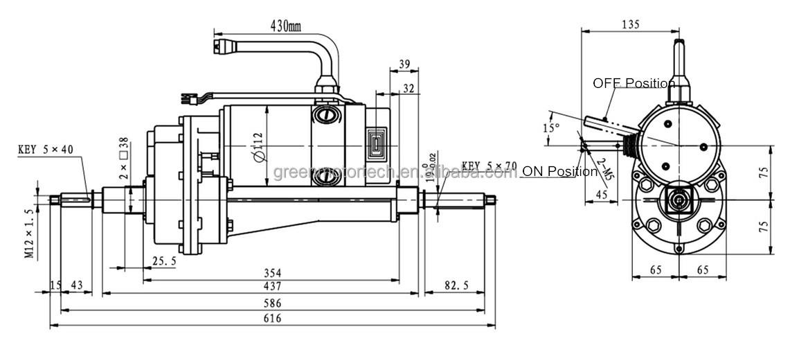 24v Dc Gear Motor Transaxle For Electric Power Barrow