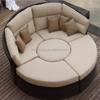 Outdoor Rattan Wicker Garden Furniture Set Round Sofa Bed