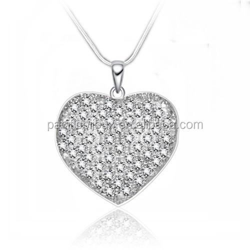 Wholesale cristal diamond big heart pendant necklace