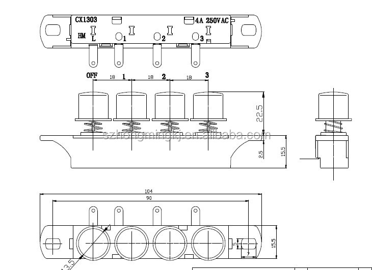 Piano Key Switch Power Push Button Switch Mechanical