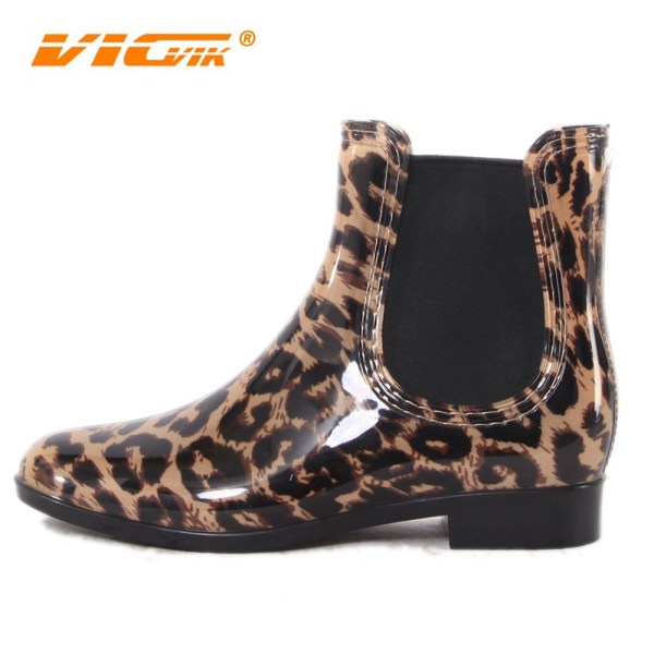 Leopard Pattern Rain Boot Cheap Women Pvc Transparent Boots
