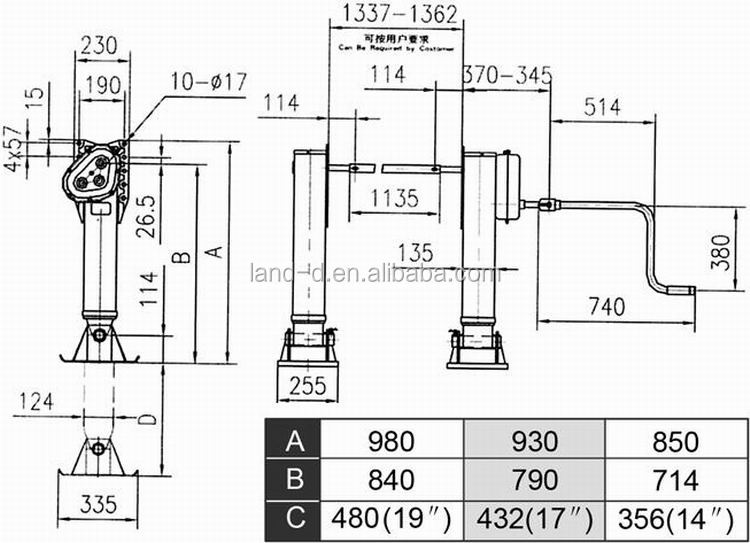 Drop Leg Heavy Duty Support 19 Inches Weld Gearbox