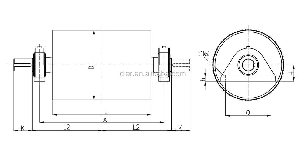Drawing Conveyor Belt Drive Pulley Steel Roller Pulley